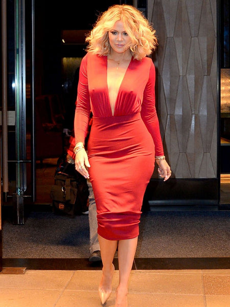 Red Khloe Kardashian Long Sleeve V Neck Sexy Wrap Dress Satin Prom Celebrity Evening Semi Formal Dress