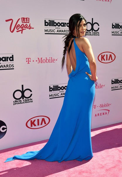 Blue Priyanka Chopra Chiffon Halter V Neck Dress High Slit prom Red Carpet Evening Dress Billboard Music Awards