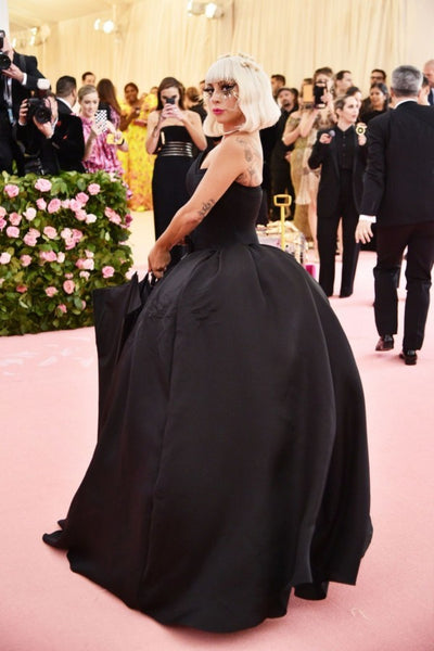 Black Lady Gaga Strapless Ball Gown Dress Satin Prom Red Carpet Celebrity Evening Dress Met Gala
