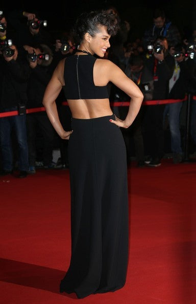 Black Alicia Keys Cut Out Dress Round Neck Prom Celebrity Evening Dress NRJ Music Awards For Sale