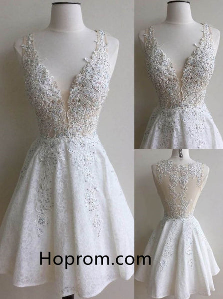 Lace Beadings Homecoming Dress, White Deep V Neck Homecoming Dresses