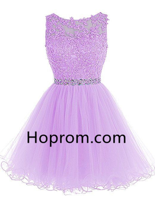 Chiffon Strapless Homecoming Dress, Purple Beadings Homecoming Dress
