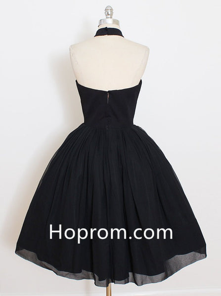 Back Strapless Homecoming Dress, Black Open Halter Homecoming Dress