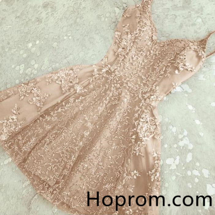 A-Line Sweetheart Homecoming Dress, Pink Appliques Homecoming Dress