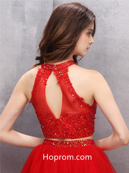 Red Short Homecoming Dresses, Two Piece Homecoming Dresses