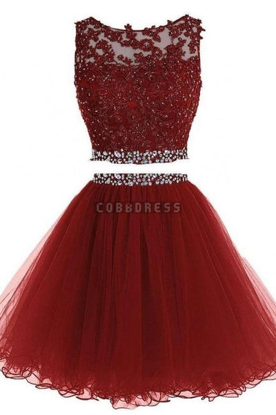 Tulle Homecoming Dress, Two Piece Homecoming Dresses