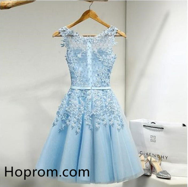 Chiffon Cute Homecoming Dress, Blue Appliqiues Homecoming Dress
