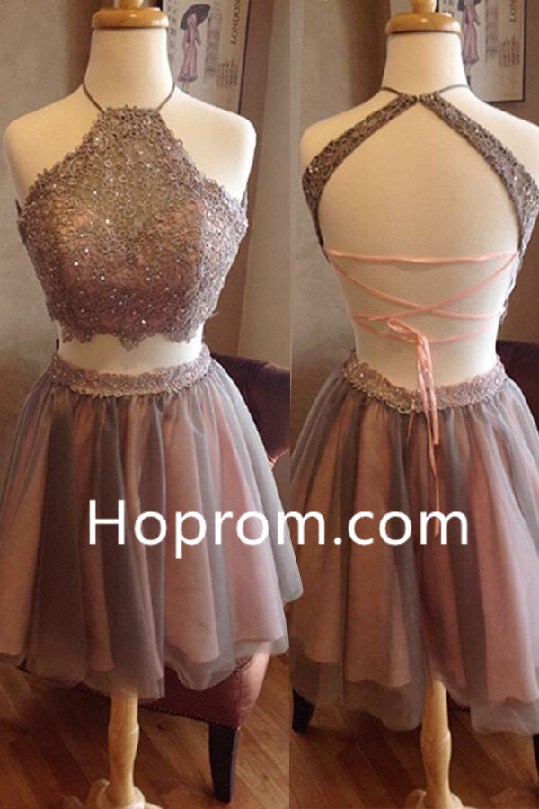 Halter Chiffon Homecoming Dress, Scoop Cross Strap Back Homecoming Dress