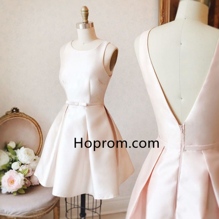 Strapless Open Back Homecoming Dress, Creamy White Homecoming Dress