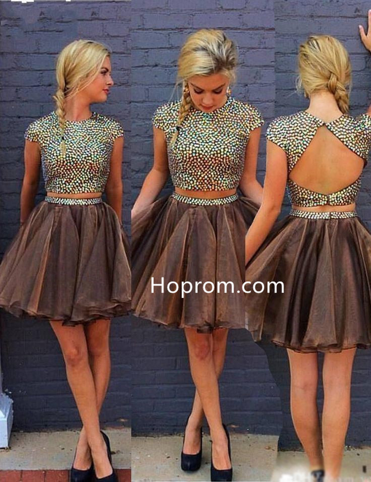 Backless Sexy Homecoming Dress, Two Pieces Homecoming Dress