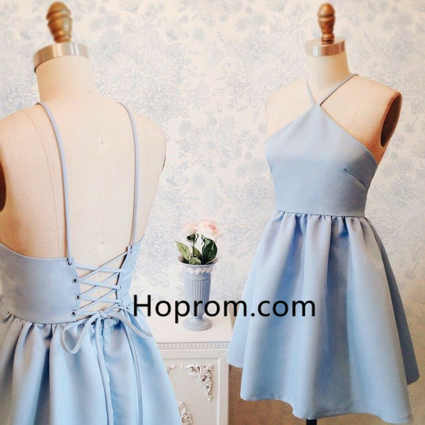 Sexy Strapless Halter Homecoming Dress, Baby Blue Homecoming Dress