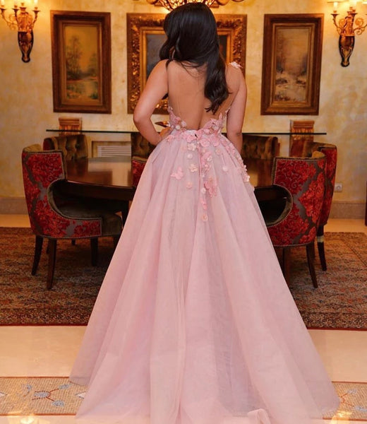 3D Flowers Long Pink Prom Dress Straps Backless Evening Dresses