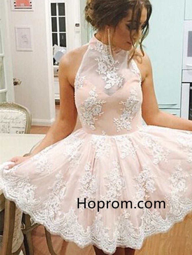 Appliques Strapless Homecoming Dress, Baby Pink Halter Homecoming Dress