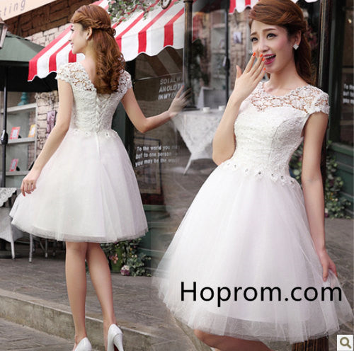A Line Homecoming Dress, White Lace Tulle Homecoming Dress