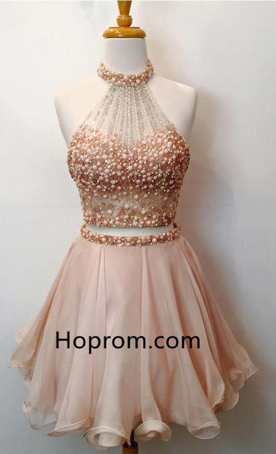 Beadings Chiffon Homecoming Dress, Pink Halter Homecoming Dress