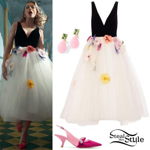 Black White Taylor Swift Me Dress V Neck Dress Flowers Prom Best Celebrity Dress Formal Ball Gown For Sale