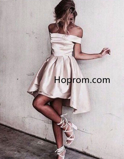 Sexy Off Shoulder Homecoming Dress, Creamy White Homecoming Dress