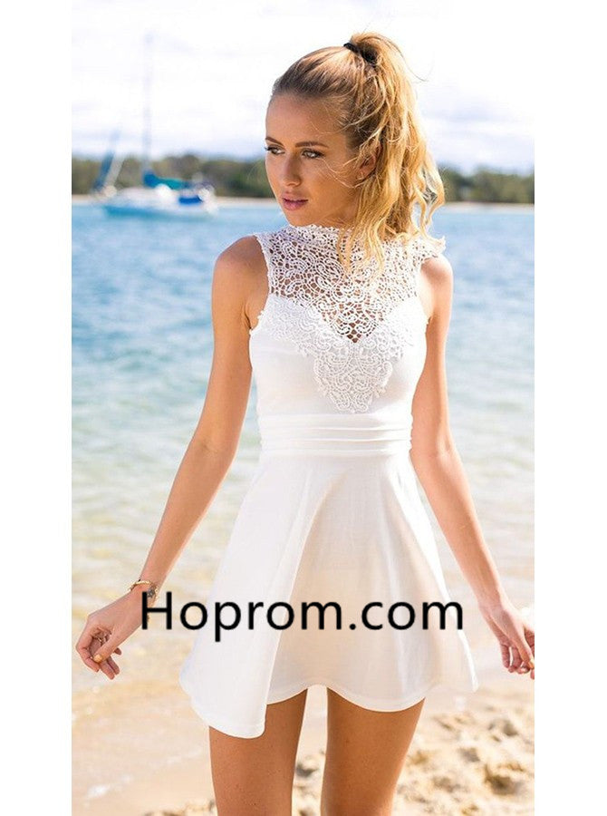 baa0484a0e Jewel Sleeveless A-Line Short White Stretch Satin Open Back Homecoming –  Hoprom