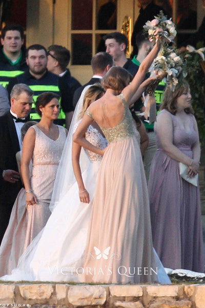 Champagne Taylor Swift V Neck Open Back Dress Sexy Wedding Celebrity Dress Bridesmaid Gown