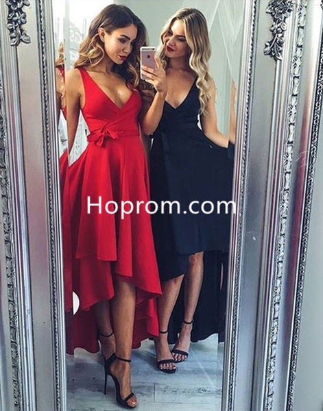 Long Sexy Homecoming Dress, Red Deep V Neck Homecoming Dress