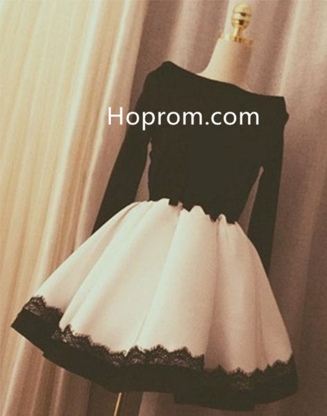 Black Off Shoulder Homecoming Dress with White Skirt, Long Sleeves Homecoming Dress