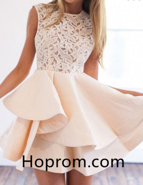 White Lace Homecoming Dress, Strapless Short Homecoming Dress