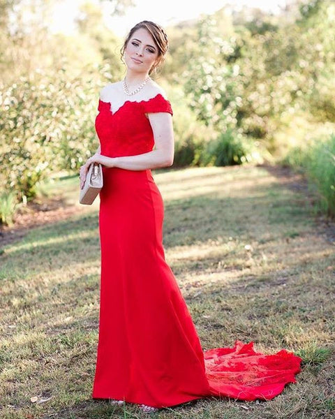 Off Shoulder Floor Length Red Prom Dresses Evening Dress