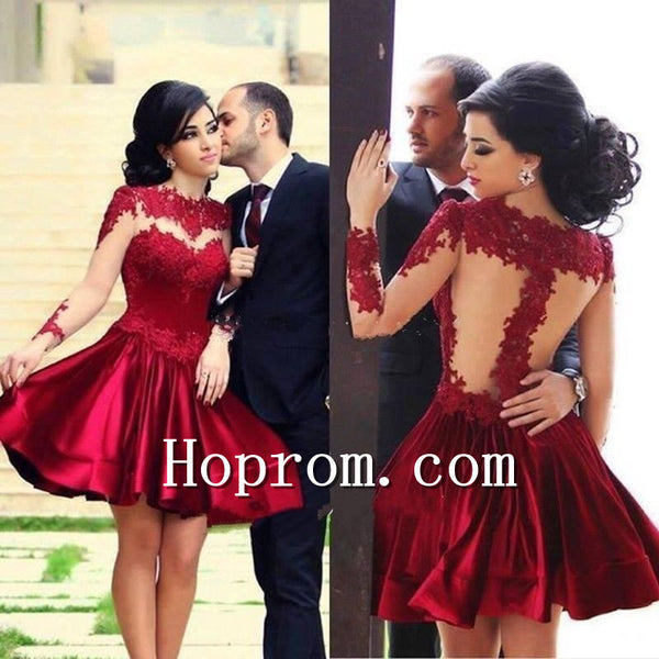 2017 Knee length Red Long Sleeve Short Prom Dress Homecoming Dress