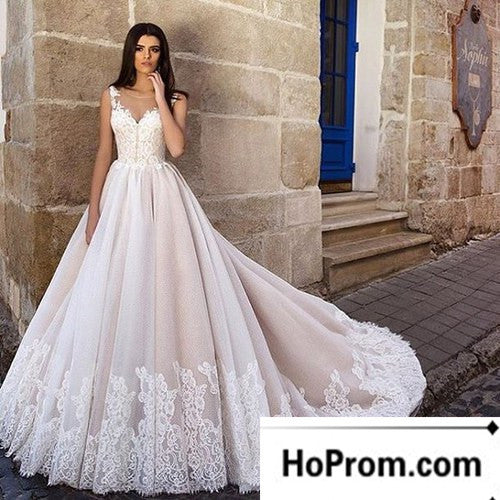 Sleeveless Floor Length Applique Wedding Dress Evening Dresses