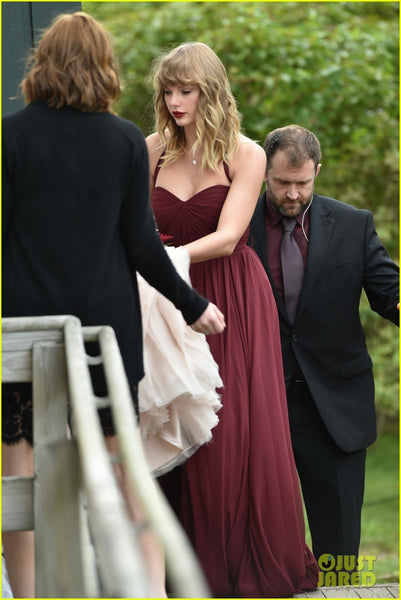 Burgundy Taylor Swift Halter Pleated Dress Bridesmaid Wedding Celebrity Dress Gown