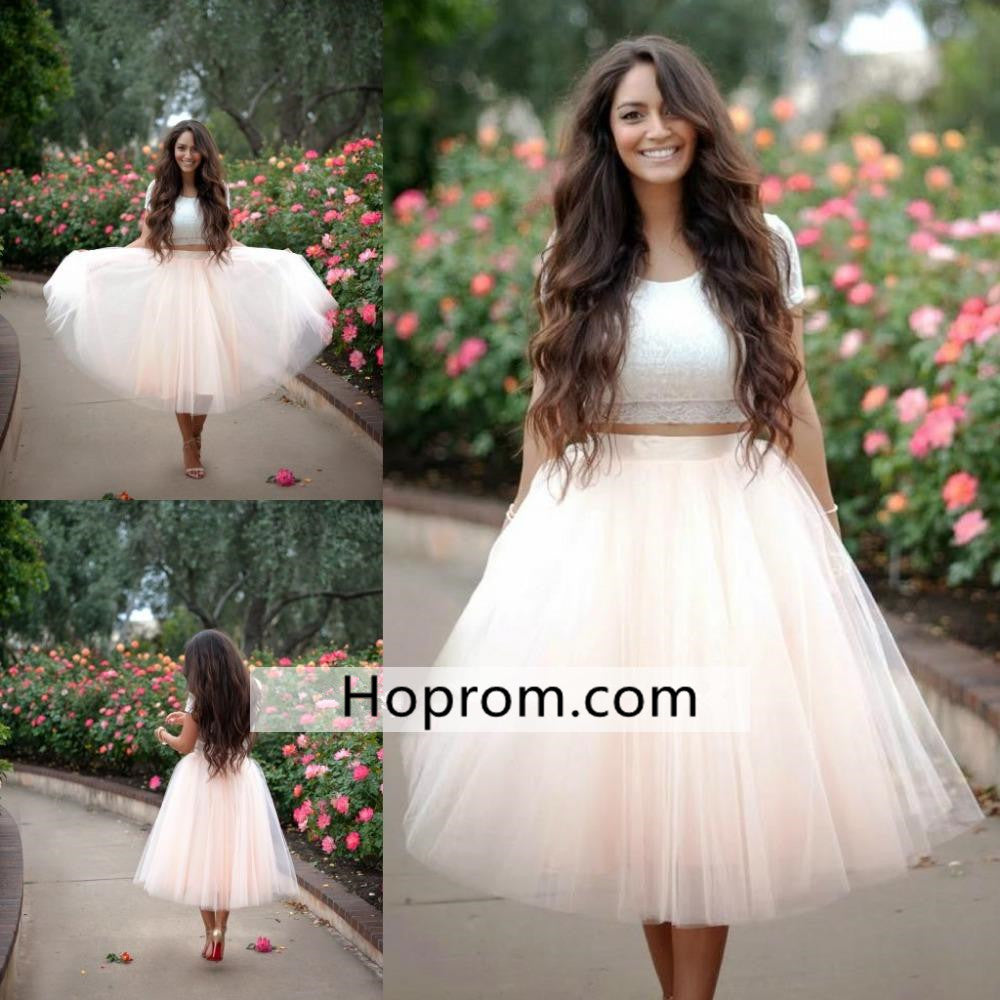 Lace Tulle Homecoming Dress, Two Pieces Homecoming Dress