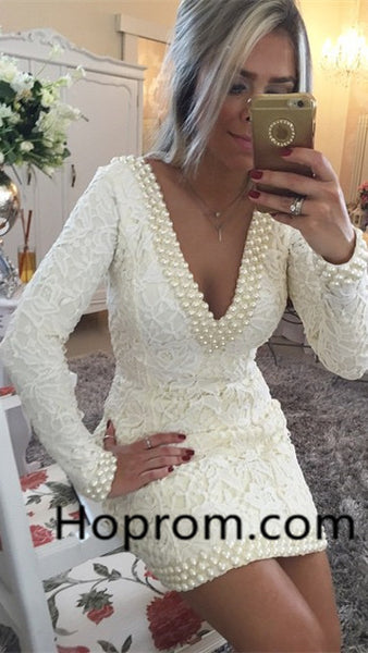ShortLace Homecoming Dresses Long Sleeves Backless Cocktail Dresses