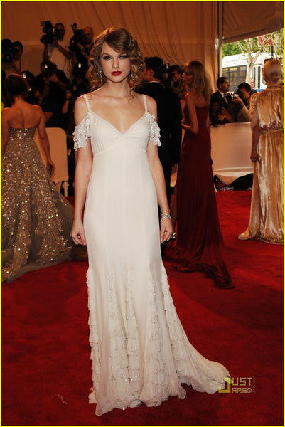 White Taylor Swift Lace Straps Sequins Dress V Neck Prom Celebrity Red Carpet Dress Met Gala