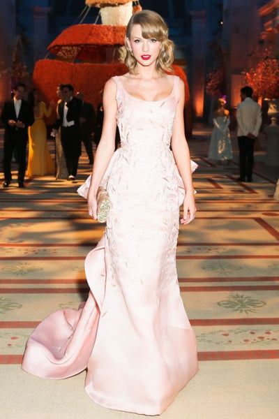 Pink Taylor Swift Round Neck V Back Sequins Dress Long Prom Best Red Carpet formal Dress Met Gala