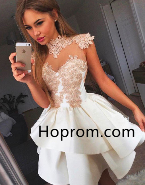 Short Prom Dress, White Lace Summer Homecoming Dress