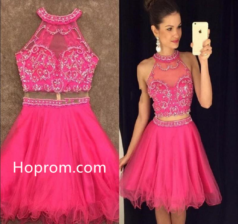 Tulle Beadings Homecoming Dress, Pink Halter Homecoming Dress