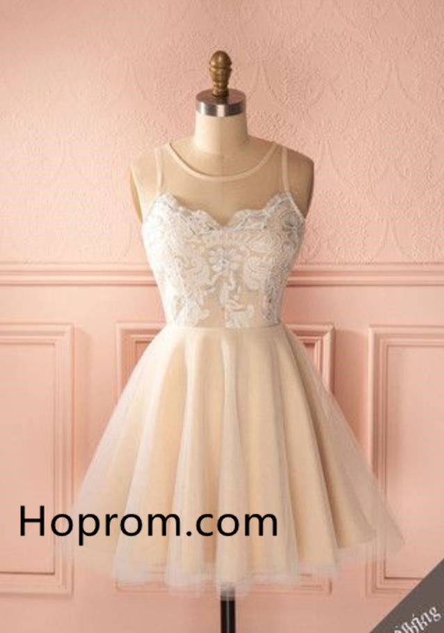 Tulle Homecoming Dress, White Lace Strapless Homecoming Dress