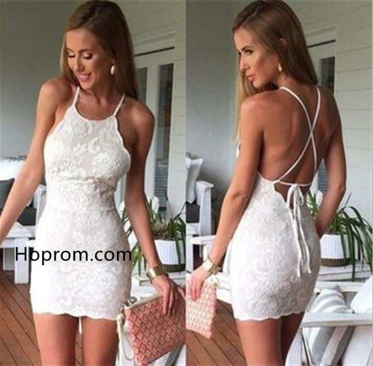 Lace Tight Homecoming Dress, Scoop Cross Strap Back Homecoming Dress