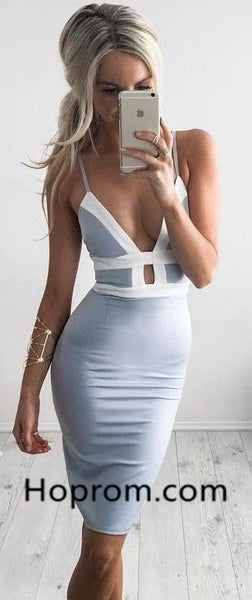 Sexy Tight Homecoming Dress, Gray Deep V Neck Homecoming Dresses