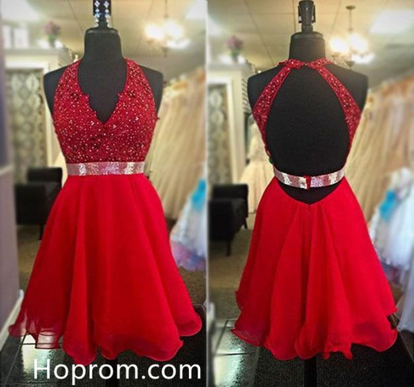 Besdings Chiffon Homecoming Dresses, Red Deep V Neck Homecoming Dress