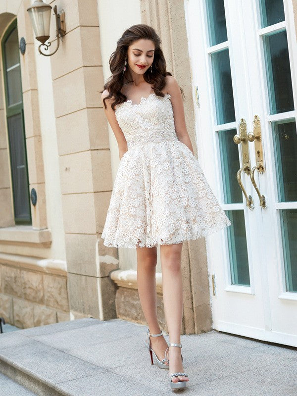 Sweetheart Lace Homecoming Dress A Line Lace Dresses Ivry