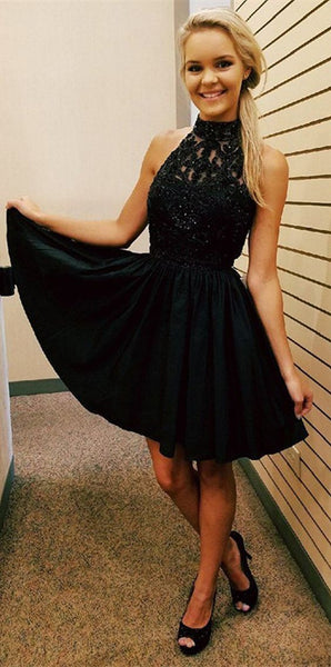 Chiffon Sexy Crystal Homecoming Dress, Black Halter Strapless Homecoming Dress