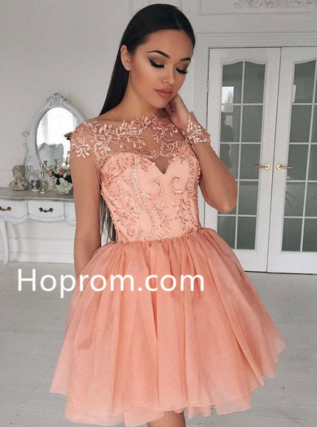 Applique Chiffon Homecoming Dresses, Pink Scoop Neck Homecoming Dress