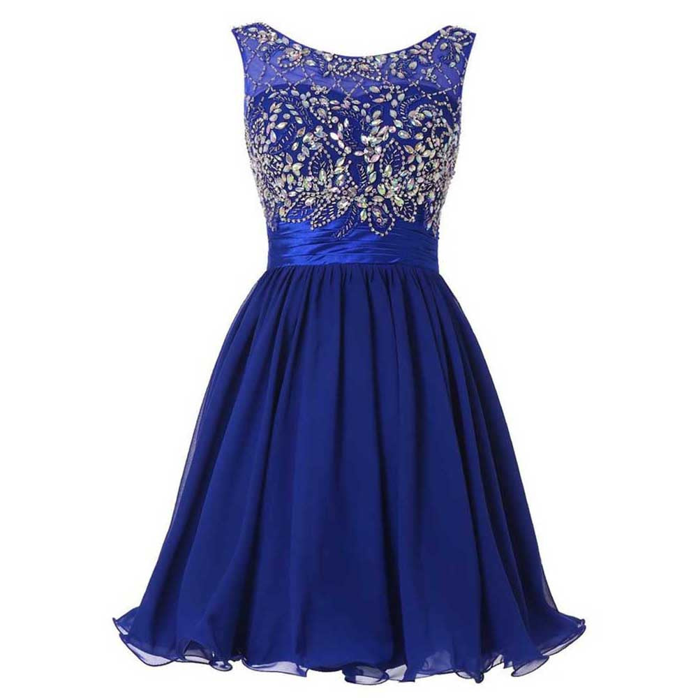 Crystal Beading Homecoming Dresses, Royal Blue Strapless Homecoming Dress with Beads
