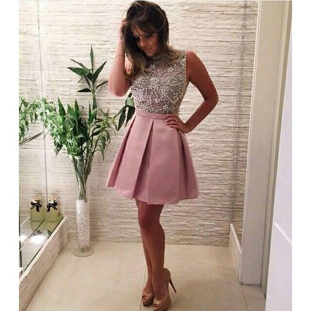 High Neck Mini Pink Beads Homecoming Dress