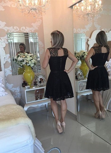 Sexy Short Black Lace Homecoming Dress 2017