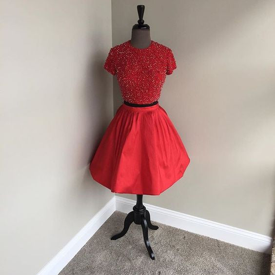 A Line Homecoming Dress, Red Beads Two Piece Homecoming Dress