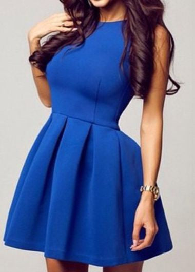 Simple Close-Fitting Royal Blue A Line Homecoming Dress