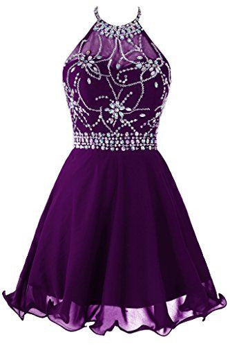 Beads Chiffon Short Sexy Purple Halter Homecoming Dress