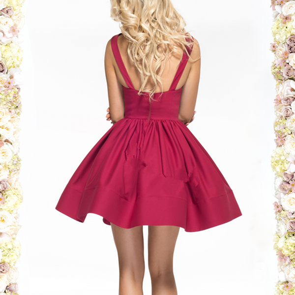 Open Back A Line Sexy Short Red Deep V Neck Homecoming Dress